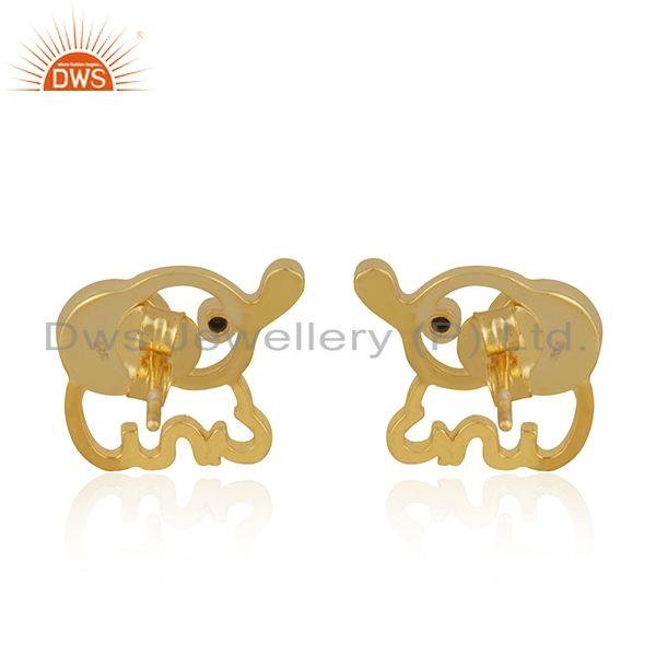 Suppliers Elephant Design Customized 925 Silver Gold Plated Pearl Stud Earring Wholesaler