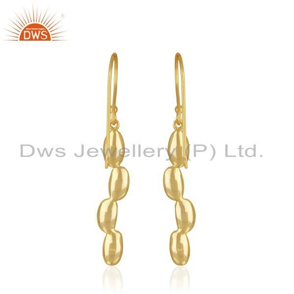 Suppliers Handcrafted 925 Sterling Silver Gold Plated Dangle Earrings Manufacturer INdia