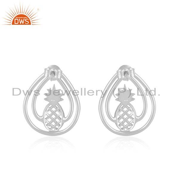 Suppliers Pineapple Design 925 Sterling Silver Earring Jewellery Manufacturer in Jaipur