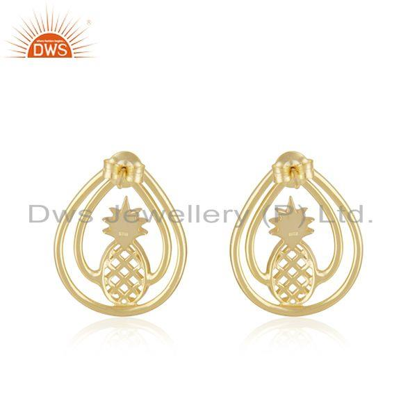 Suppliers 14k Yelow Gold Plated Sterling Silver Pineapple Stud Earring Manufacturer Jaipur