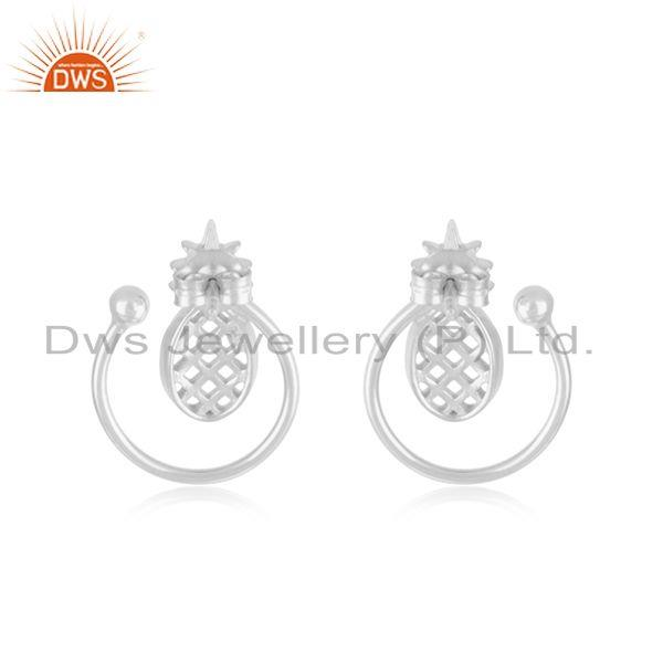Suppliers Solid Plain Silver Pineapple Customized Design Stud Earrings Manufacturer
