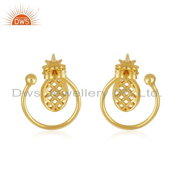 Suppliers Yellow Gold Plated Sterling Silver Pineapple Stud Earring For Womens Jewelry