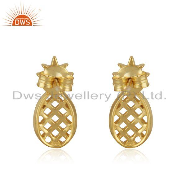 Suppliers 14k Yellow Gold Plated Sterling Silver Customized Pineapple Design Stud Earrings