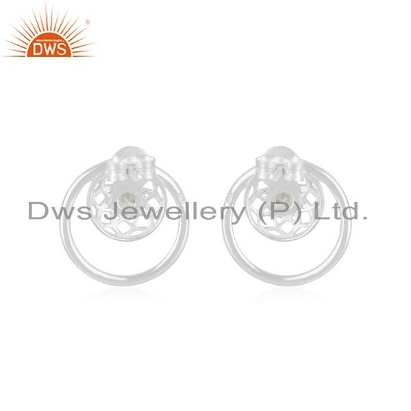 Suppliers White Zircon Fine 92.5 Sterling Silver New Arrival Stud Earring Wholesale Jaipur