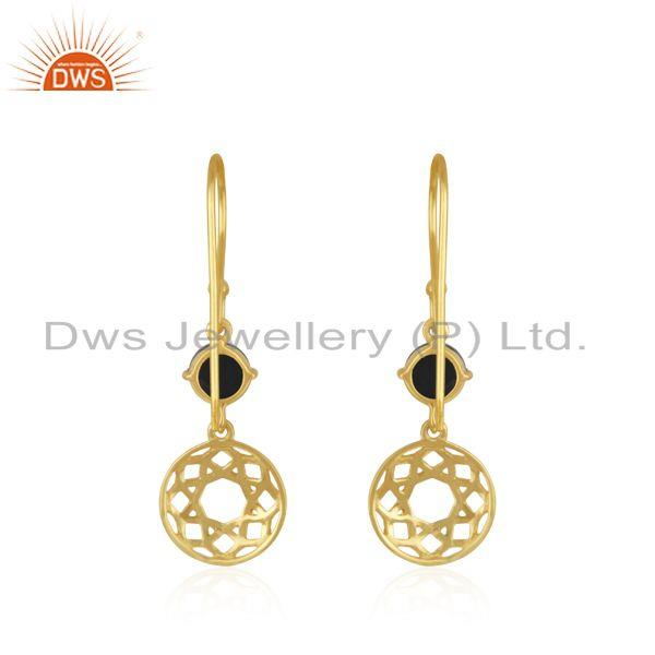 Suppliers Black Onyx Gemstone Gold Plated Sterling Silver Earring Manufacturer