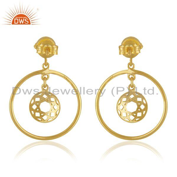 Suppliers Black Onyx Gemstone Yellow Gold Plated 925 Silver Drop Earrings Wholesaler India