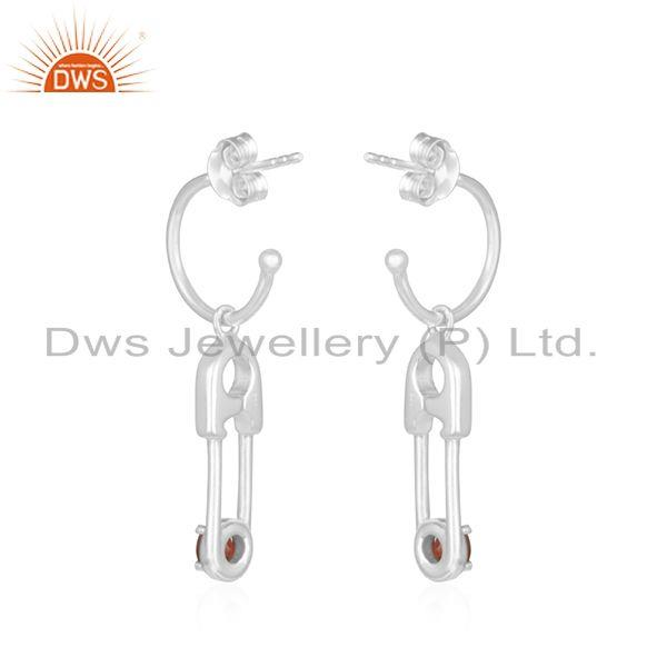 Suppliers Natural Garnet Birthstone Fine Sterling Silver Pin Design Earring Wholesale