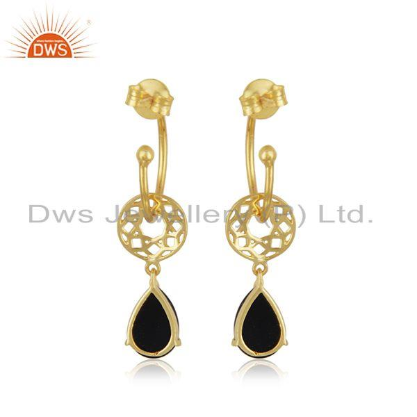 Suppliers Gold Plated 925 Silver Black Onyx Gemstone Dangle Earring Manufacturer