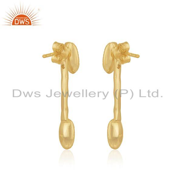 Suppliers Handmade 925 Sterling Silver Yellow Gold Plated Designer Earring Wholesaler