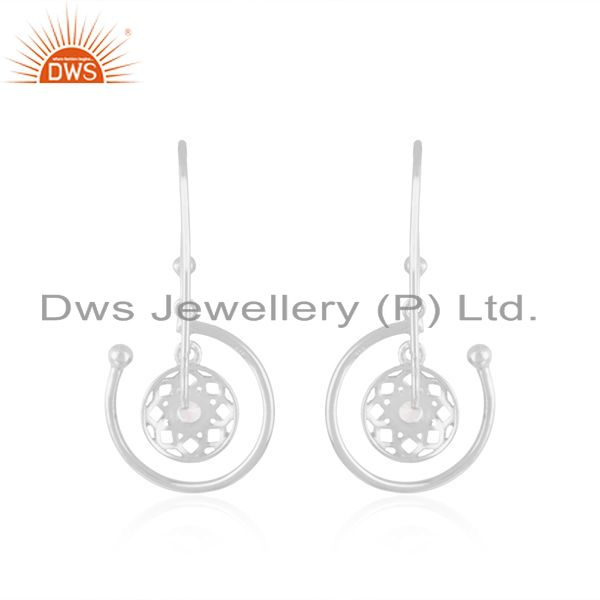 Suppliers Designer Fine Sterling Silver White Zircon Drop Earring Manufacturer in Jaipur