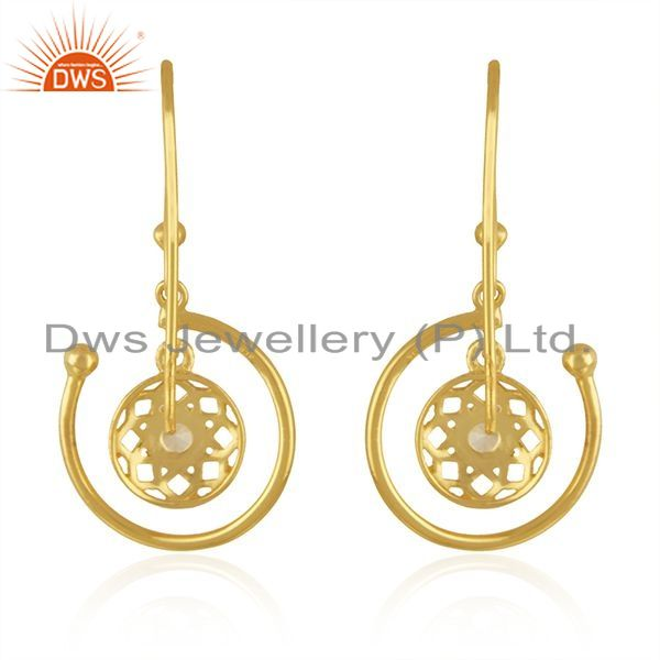 Suppliers White Zircon Yellow Gold Plated Sterling Silver Drop Earrings Manufacturer India