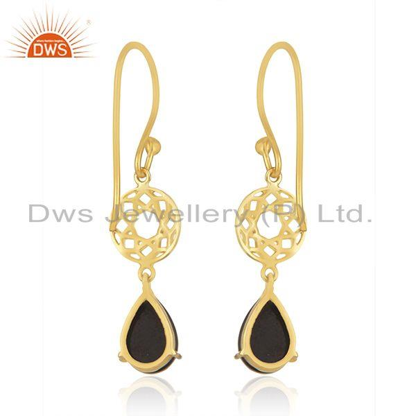 Suppliers Black Onyx Gemstone 925 Silver GOld Plated Dangle Hook Earrings Wholesaler india