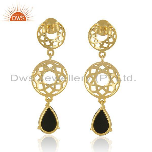 Suppliers Designer Sterling Silver Gold Plated Black Onyx Gemstone Earrings Manufacturers