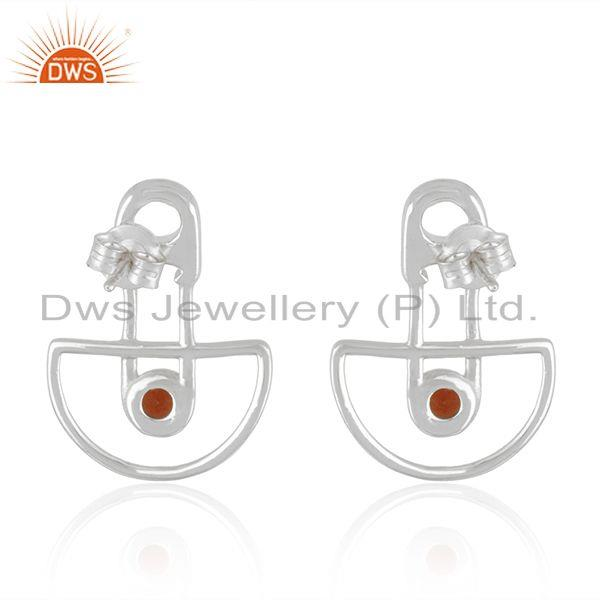Suppliers Customized Design 925 Sterling Silver Garnet Gemstone Stud Earrings Manufacturer