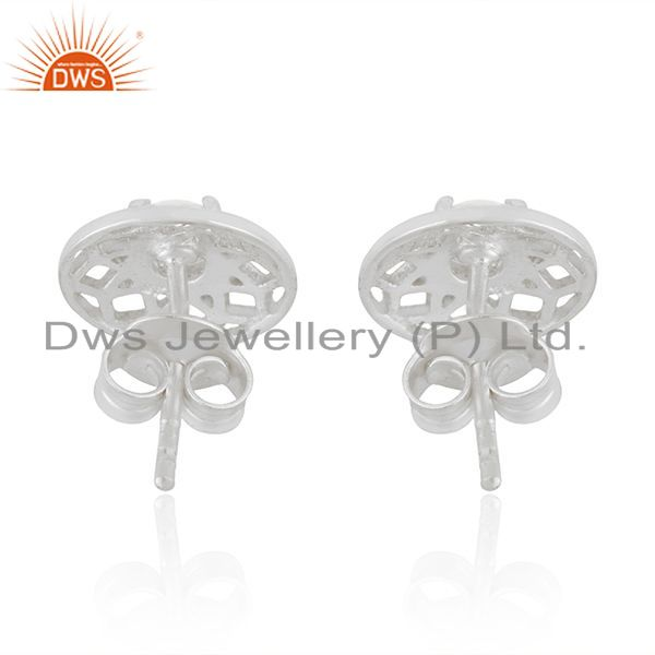 Suppliers White Zircon Round 925 Sterling Silver Stud Earrings For Teenage Girls Jewelry