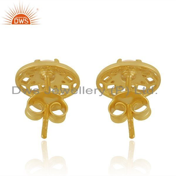 Suppliers New Arrival Gold Plated 925 Silver White Zircon Round Stud Earrings for Girls