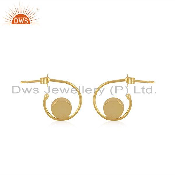 Suppliers New Arrival Gold Plated 925 Silver Aqua Chalcedony Gemstone Hoop Earring