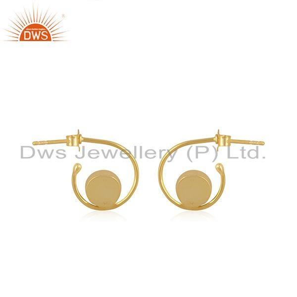 Suppliers Blue Chalcedony Gemstone Gold Plated 925 Silver Hoop Earring Manufacturer