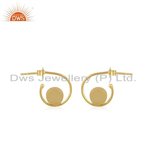 Suppliers Yellow Gold Plated 925 Silver Labradorite Gemstone Hoop Earring Wholesale