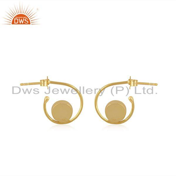 Suppliers Rose Chalcedony Gemstone 925 Silver Gold Plated Hoop Earring For Womens Jewelry