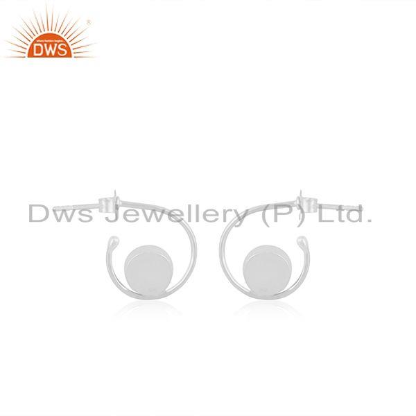 Suppliers Rainbow Moonstone White Sterling Silver Hoop Earring Wholesale SUpplier