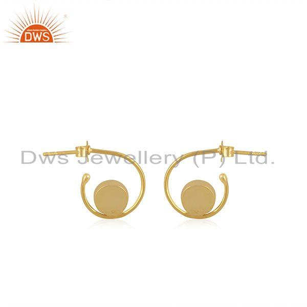 Suppliers Natural Rainbow Moonstone Yellow Gold Plated 925 Sterling Silver Hoop Earring