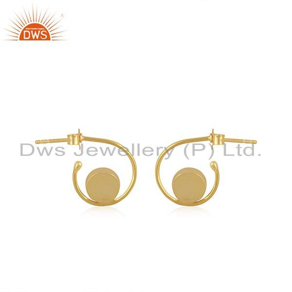 Suppliers Black Onyx Gemstone 925 Sterling Silver Yellow Gold Plated Hoop Earring Supplier