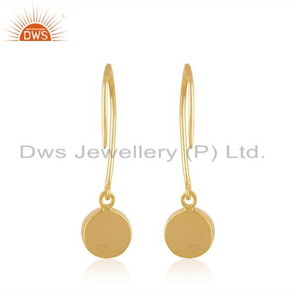 Suppliers Aqua Chalcedony Gemstone Yellow Gold Plated Sterling Silver Earring Manufacturer