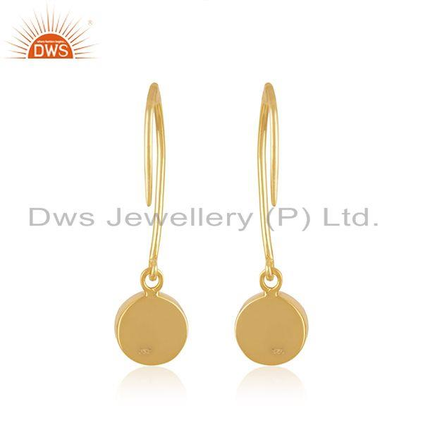 Suppliers Chalcedony Blue Gemstone Sterling Silver Gold Plated Designer Earring For Womens