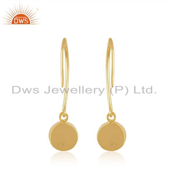 Suppliers Natural Lapis Lazuli Gemstone Yellow Gold Plated 925 Silver Earring Manufacturer