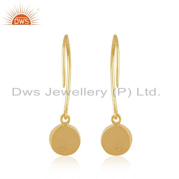 Suppliers Yellow Gold Plated Sterling Silver Rose Chalcedony Gemstone Earring Manufacturer