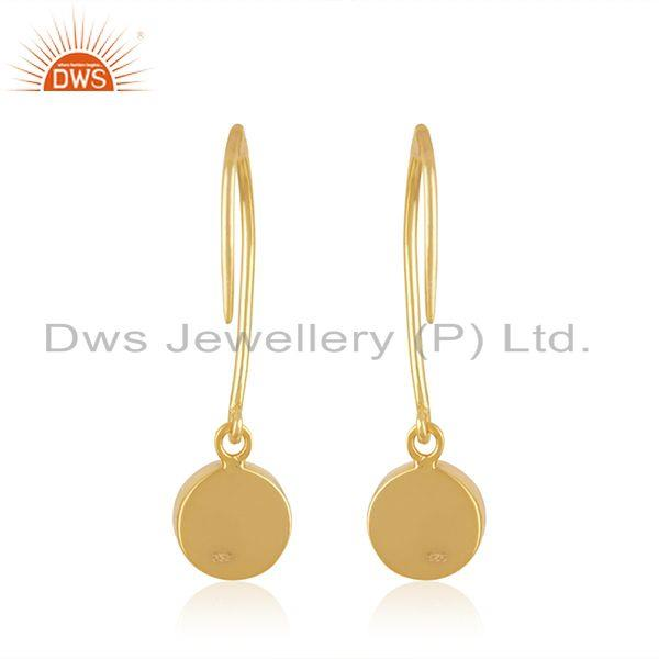 Suppliers Rainbow Moonstone Yellow Gold Plated Sterling Silver Earring Wholesaler