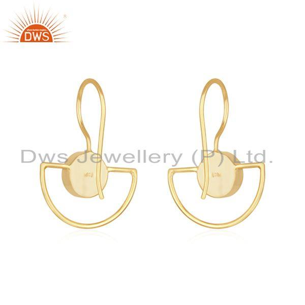 Suppliers Aqua Chalcedony Gemstone Gold Plated 925 Silver Earring Manufacturer India