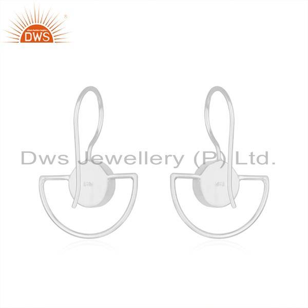 Suppliers Handmade 925 Sterling Silver Rose Chalcedony Gemstone Earring Supplier in Jaipur