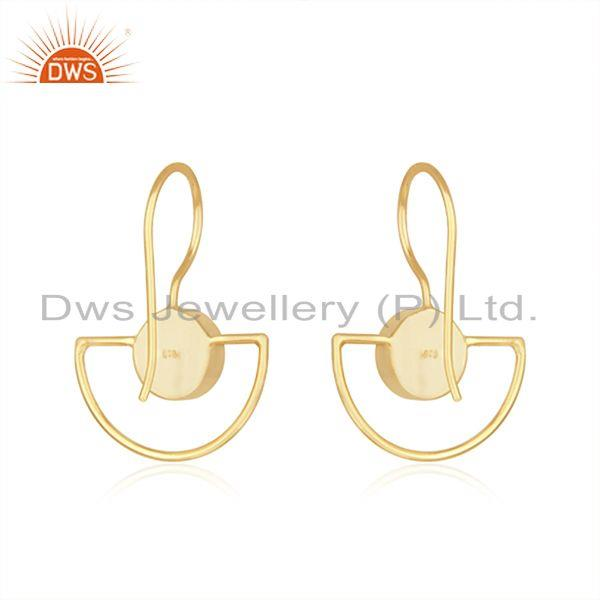 Suppliers Rainbow Moonstone Sterling Silver Gold Plated Earring Wholesale Supplier