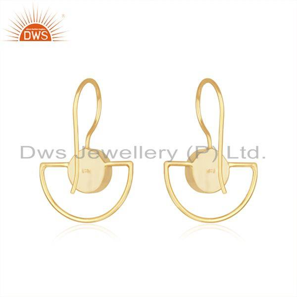 Suppliers Black Onyx Gemstone 925 Silver Gold Plated Designer Earring Manufacturer India