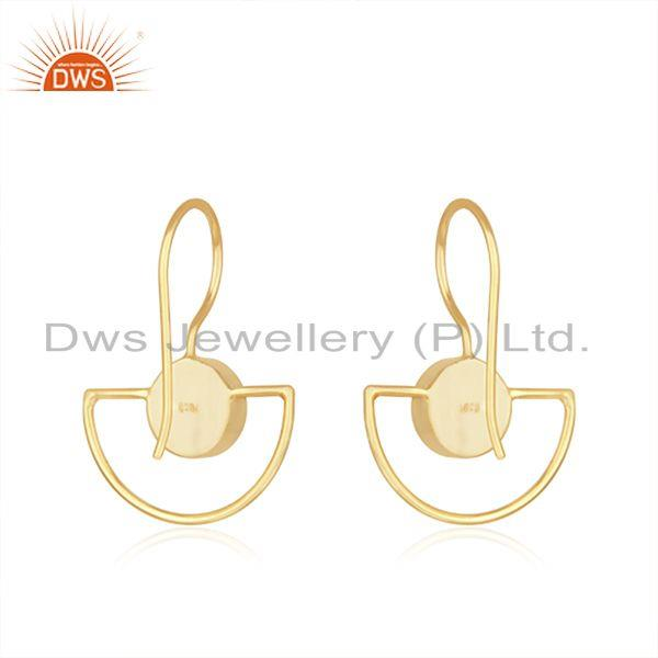 Suppliers Green Onyx Gemstone 925 Silver Gold Plated Girls Earring Jewelry Supplier