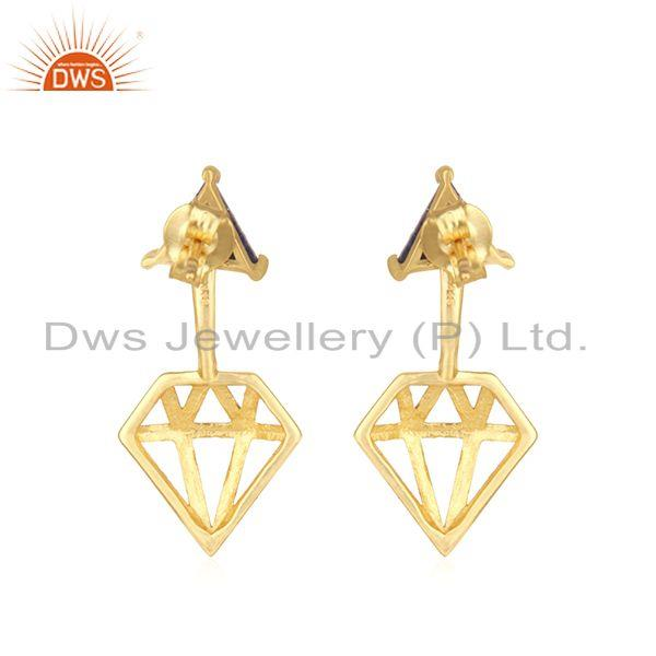 Suppliers Diamond Shape Gold Plated 925 Silver Lapis Gemstone Stud Earring Manufacturer