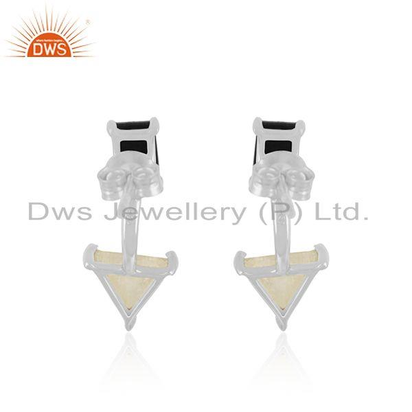 Suppliers Natural Multi Gemstone Fine Sterling Silver Stud Earring Manufacturer INdia