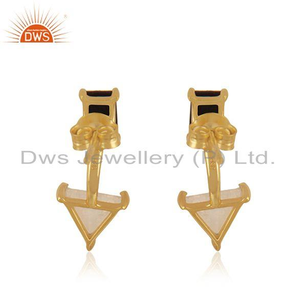 Suppliers Black Onyx and Rainbow Moonstone Gold Plated 925 Silver Stud Earring Wholesale