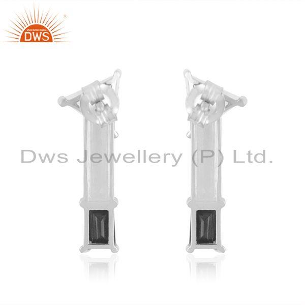 Suppliers Handmade Fine Silver Moonstone and Onyx Gemstone Earring Manufacturer in Jaipur