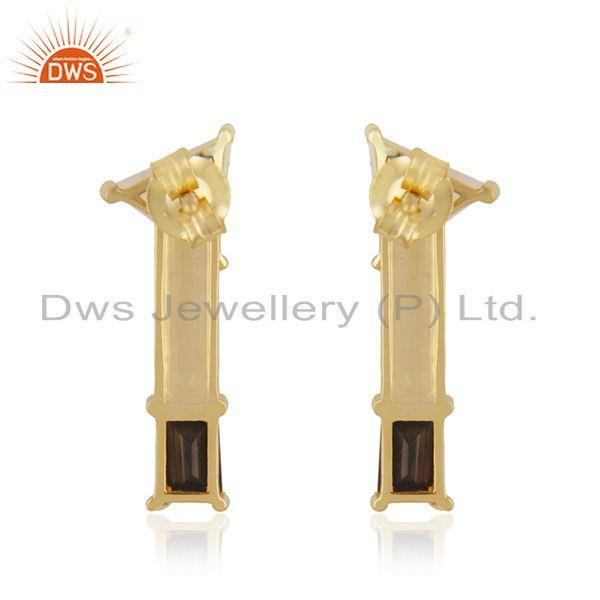 Suppliers Double Gemstone 18k Gold Plated Sterling Silver Designer Earring Manufacturer