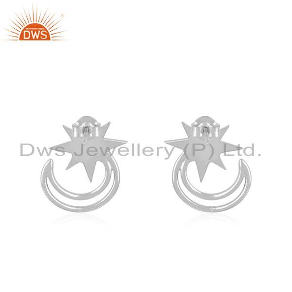 Suppliers Star and Moon Design Muslim Religous Charm 925 Silver Stud Earring Wholesale