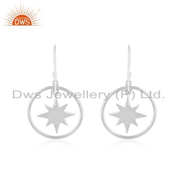 Suppliers Lucky Star Charm Fine Sterling Plain Silver Earrings Manufacturer