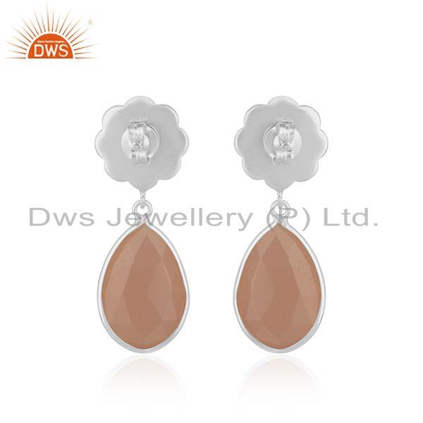 Suppliers Rose Chalcedony Gemstone Floral Design Sterling Fine Silver Drop Earring