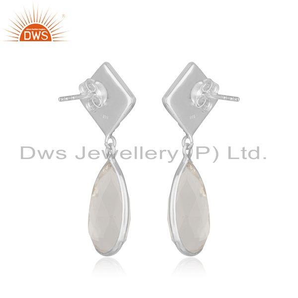 Suppliers Crystal Quartz Gemstone Fine Sterling Silver Drop Earring Manufacturer India