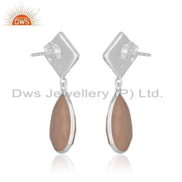Suppliers Rose Chalcedony Gemstone Sterling Silver Designer Earring Manufacturer Jaipur