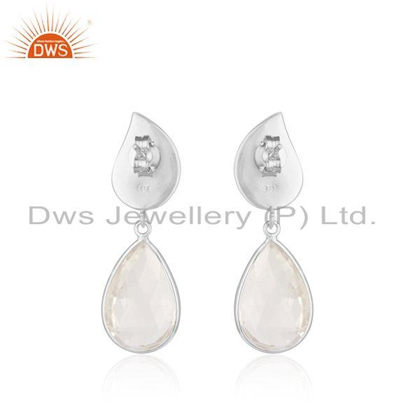 Suppliers Floral Design Sterling Silver Crystal Quartz Earring Manufacturer of Jewelry