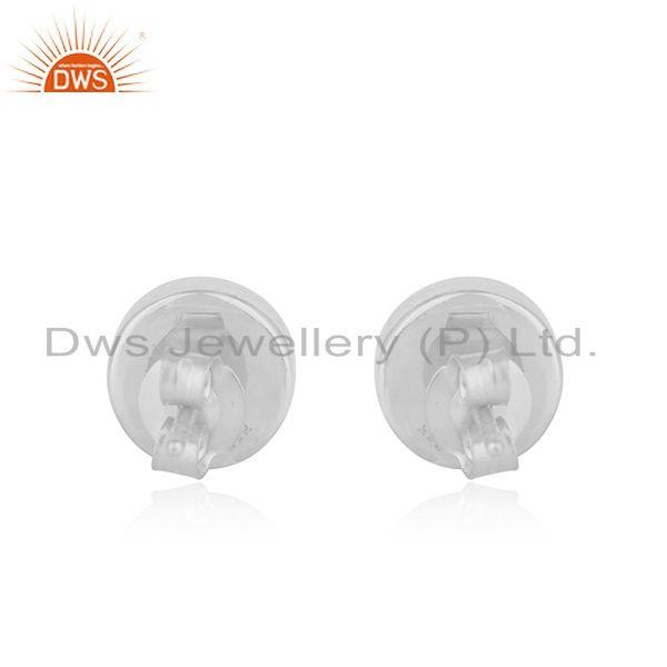Suppliers Simple Round Design Blue Chalcedony Fine Sterling Silver Stud Earrings