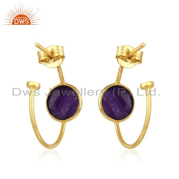 Suppliers Gold Plated 925 Silver Aventurine Natural Gemstone Earrings Jewelry